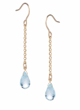 14K Gold Filled Blue Topaz Natural Stone Drop Earrings