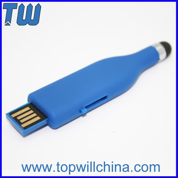 Soft Touch Plastic Stylus Pen Thumb Drive with Free Printing