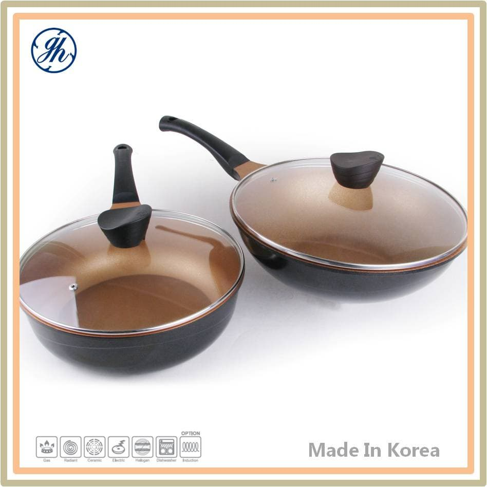 Non Scratch Real Marble Coating Wok Pan