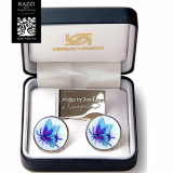 Mother of Pearl Tie Clip and Cufflinks Set with Tiger Design