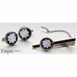 Mother of Pearl Tie Clip and Cufflinks Set Lotus Blossom