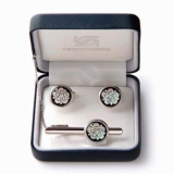 Mother of Pearl Tie Clip and Cufflinks Set Cherry Blossom