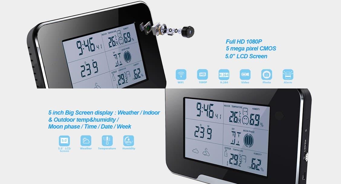 Black Weather Station Wi-Fi Camera Wifi Hidden Alarm Clock