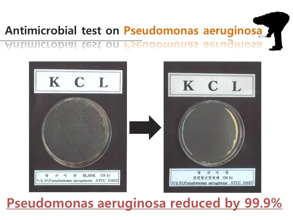 Pseudomonas aeruginosa reduced by 99.9