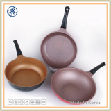 Cast Aluminum Real Marble Stone Coating Wok