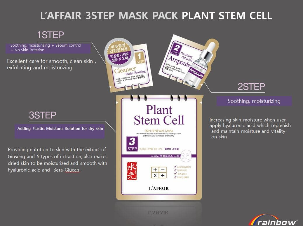 Rainbow  3step  Plant stem cell facial mask_Mask pack