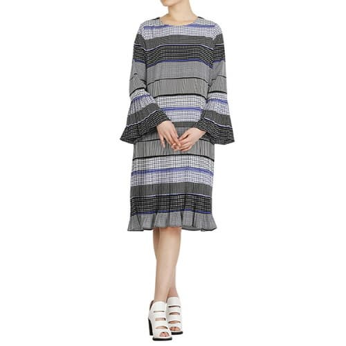 Sleeve and bottom Pleated blue_ pink dress featured round ne