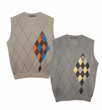 Man mixed diamond V neck vest