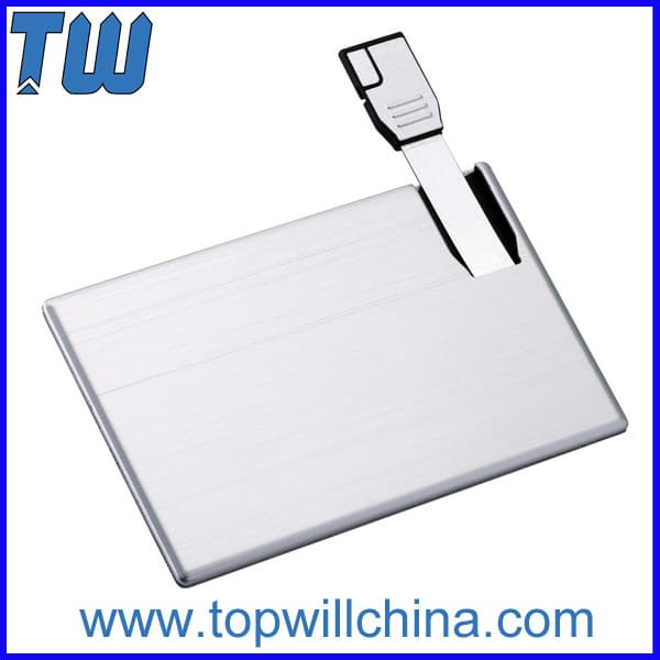 Long Usb Connector Card Shape 16GB Flash Drive Full Metal