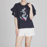 Marine anchor patched women t shirts with frill sleeved