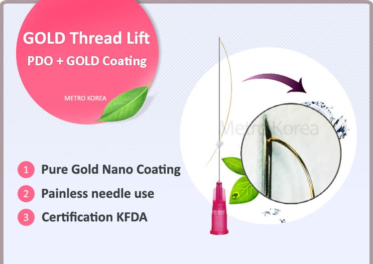 gold thread lift _ PDO - Pure Gold Nano Coati
