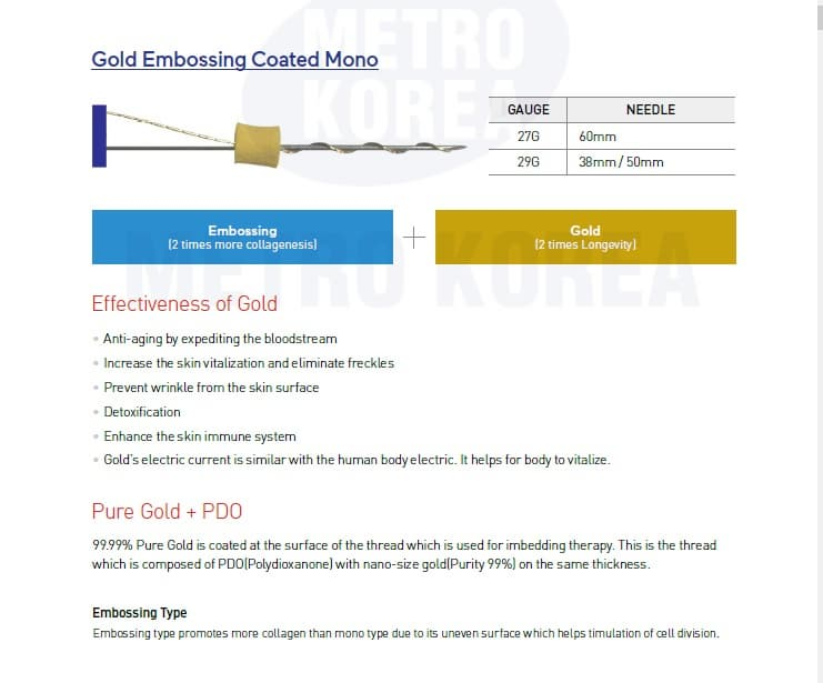 gold thread lift _ Pure Gold Nano Coating