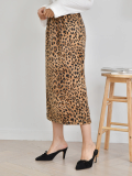Leopard Print Elasticated Bandage Long Skirt