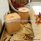 foldable bamboo laundry basket storage basket