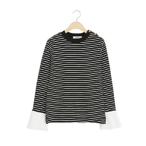 sleeve pleats stripe button t shirts