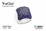 "925 Silver Finger Ring  made  with Swarovski Crystals set by the World Best Color Adhesive  ""wGlue"""
