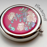 Inlaid with Mother of Pearl Paper Powder Puff  Hydrange