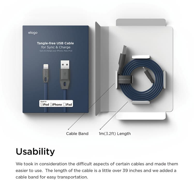 Tangle Free USB Cable for Apple devices