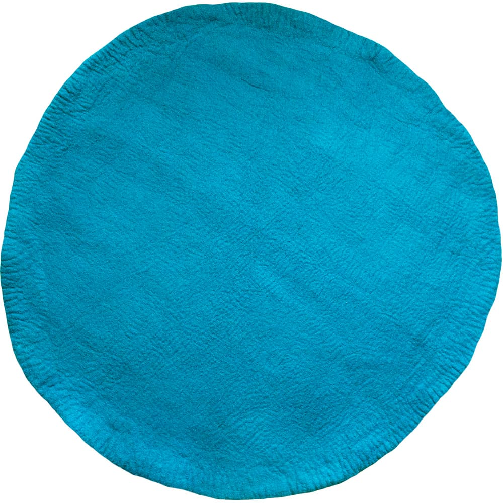 One Tone Light Petrol Round Felt Rug