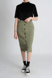 BUTTON TUBE KNIT SKIRT _1017090664_