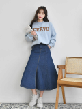 Skirt_ Long Skirt_ Demin Skirt_ Front_Open Skirt