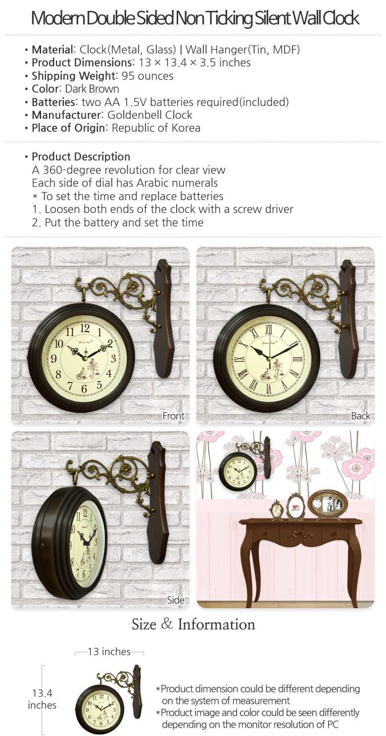 modern double sided non ticking silent wall clock from double sided wall clock