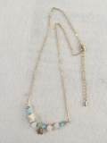 Natural stones and tin leaf charm necklace
