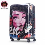 Vintage style ultra lightweight wheeled trolley luggage