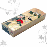 Mother of Pearl Pen Case with Folk Painting of Peony