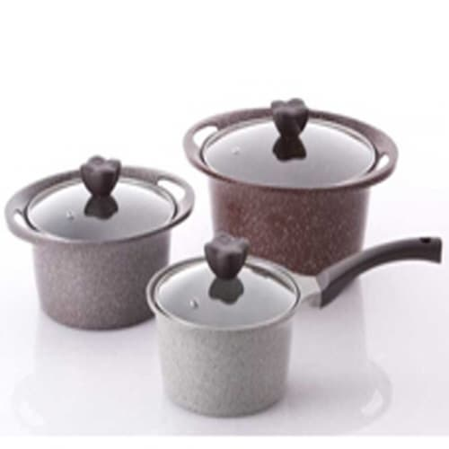 Kitchen Flower_ ALUMINUM COOKWARE_ Adel stone marble 3pcs