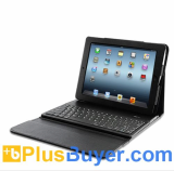 Robust Leather Case + Spillproof Removable Bluetooth Keyboard for iPad 2 and New iPad 3
