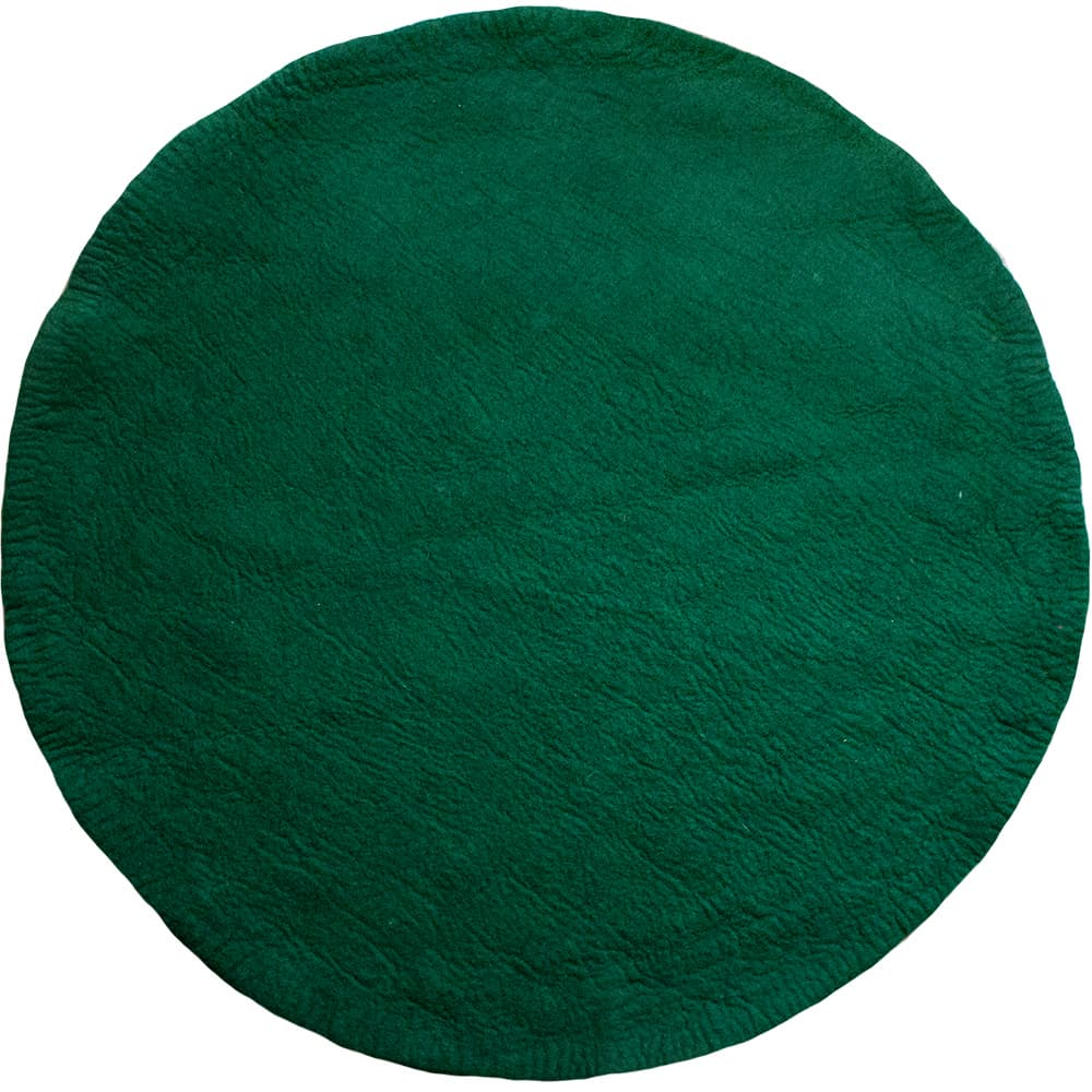 One Tone Deep Green Round Felt Rug