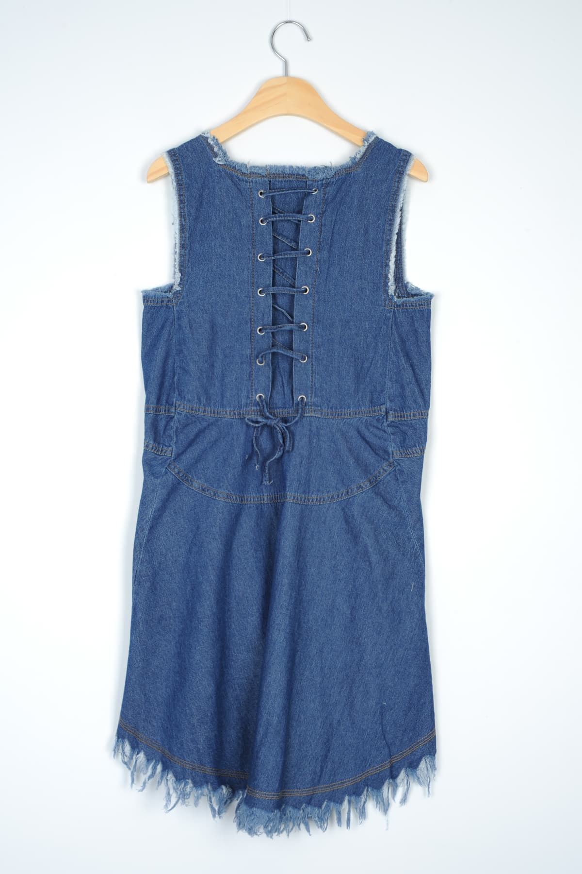 FRINGE HEMLINE DETAIL DENIM DRESS