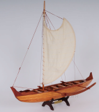 Wooden Model Boat Hawaiian Canoe