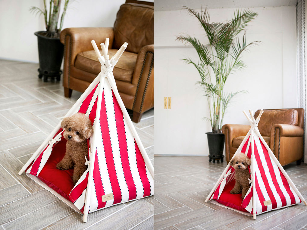 Huts and Bay_Teepee tent_Zip Stripe Red