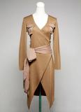 [JA-020] Long sleeve women's knit dress designed with pretty breast pockets.