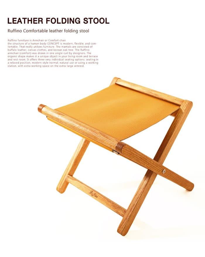Peachy Leather Folding Camping Stool Tradekorea Ibusinesslaw Wood Chair Design Ideas Ibusinesslaworg
