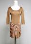 [JA-022] Short sleeve women's knit dress applied appliqué on the lower half.  Acrylic 100%