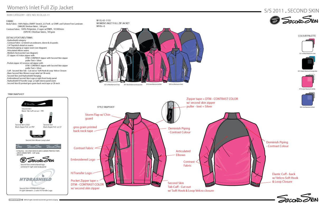 Womens seam sealing and welding full zip Jacket