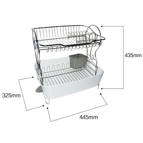 Spin Drain Way Dish Rack 2tier White