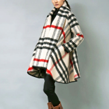 check flared coat