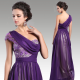 Floor length Sleeveless chiffon Purple prom evening dress