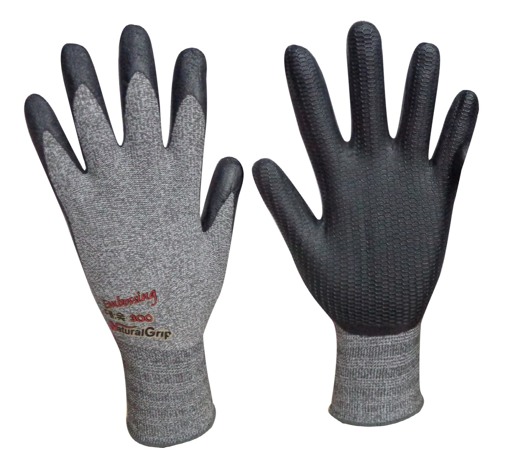 Natural Grip300 Bamboo charcoal_NBR Embossing coating gloves