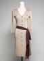 [JA-002] V-Neck Long sleeve women's knit dress designed with pretty appliqué. Acrylic 100%