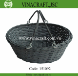 Black bamboo fruit basket with handle