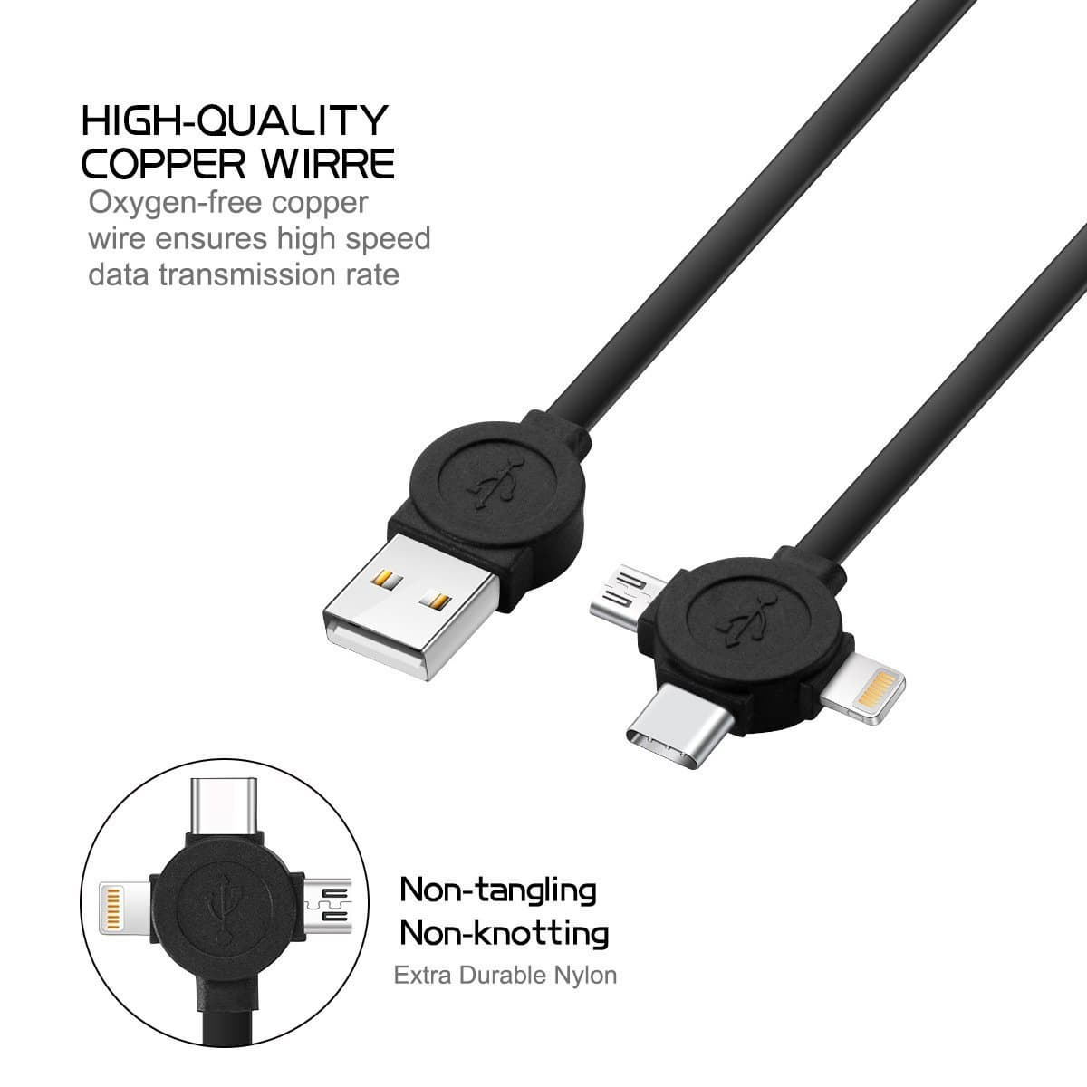 ASICEN 2 Pack 3 in 1 Retractable Cable _androind _ iOS_