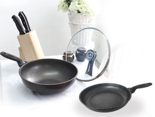 Nonstick Marble Coating Frying Pan Wok Die Cast Aluminum