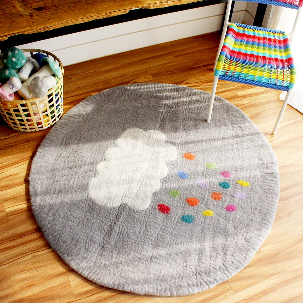 Cloud Multidrops Round Felt Rug