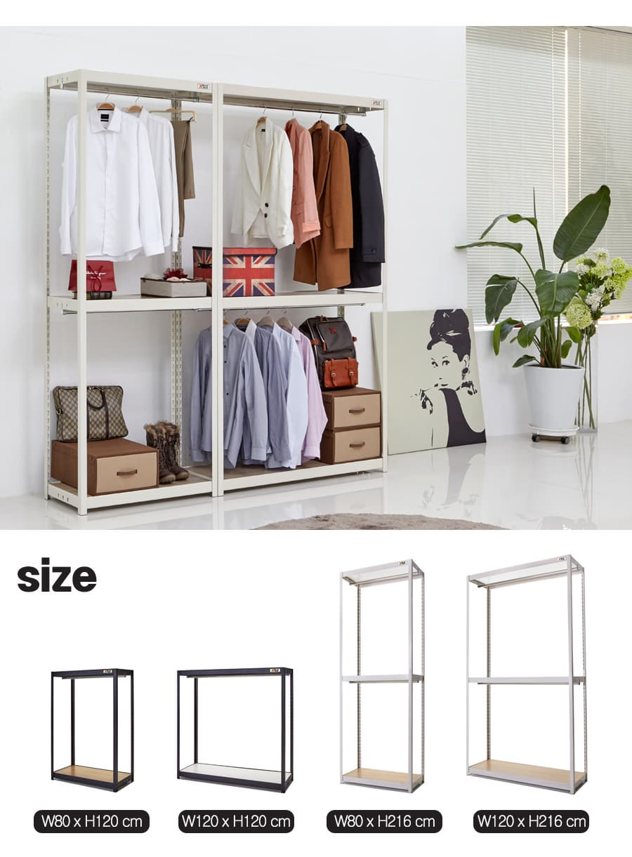Shelf Rack steel hanger W80_W120cm 2_3Layers _ Storage