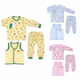 _bear vest 3set_ double layer long sleeves pajama set